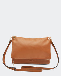 Clover Suede Crossbody Bag - Tan