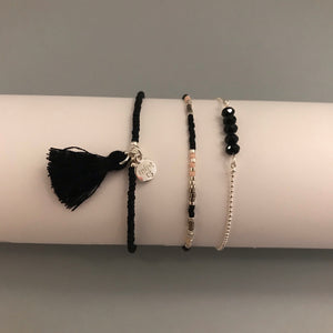 Black Sparkle Bracelet Set - Silver
