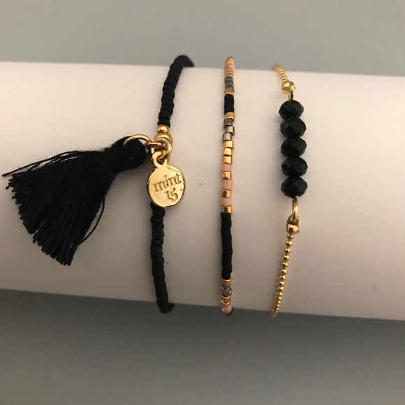 Black Sparkle Bracelet Set - Gold