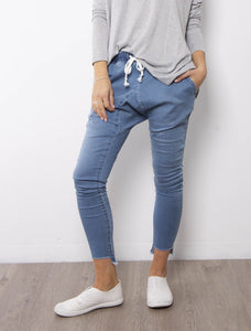 Demi Drop Crutch Pants - Blue Wash