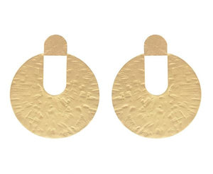 Lidia Hammered Disc Earrings - Soft Matte Gold