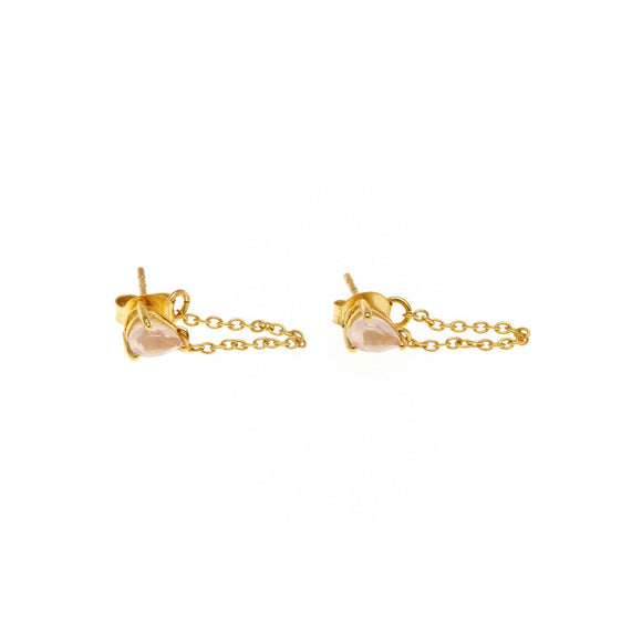 Rose Quartz Connected Earrings - Gold