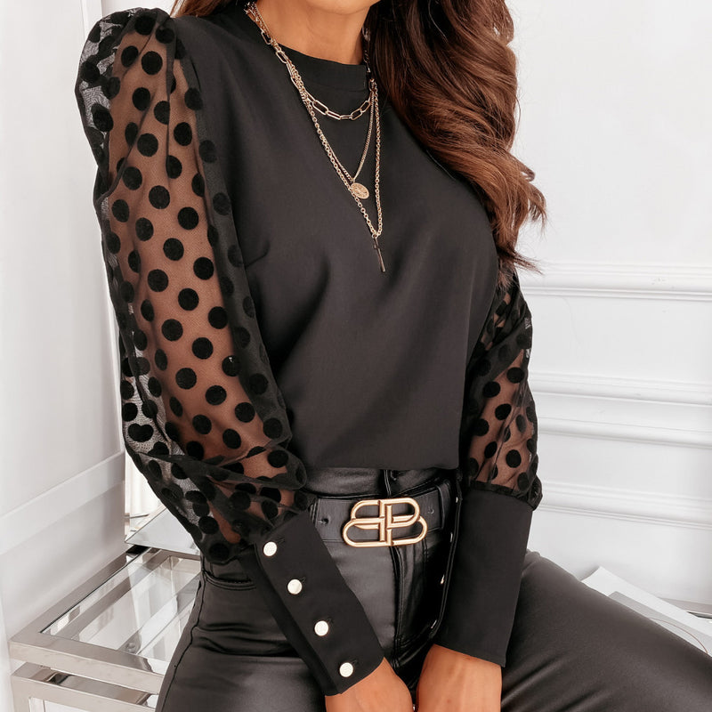 Dot Mesh Long Sleeve Shirt Top Tee