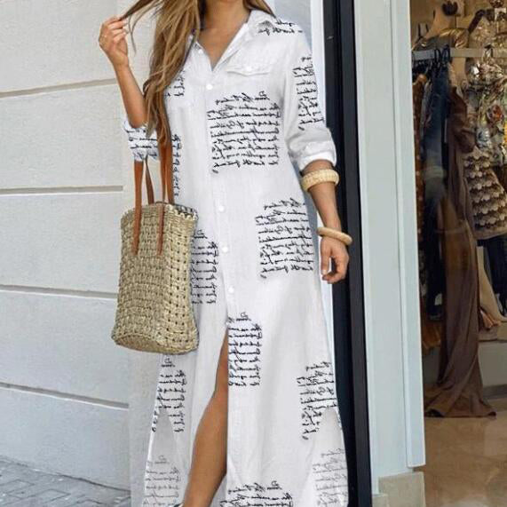 fashion print Long Sleeve sexy shirt maxi dress