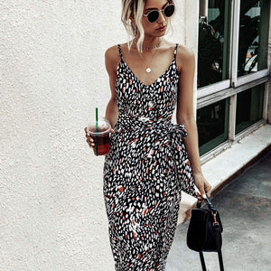 Allover Print Self Tie Split Thigh Cami Dress