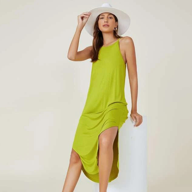 BASICS Curved Hem Solid Cami Dress