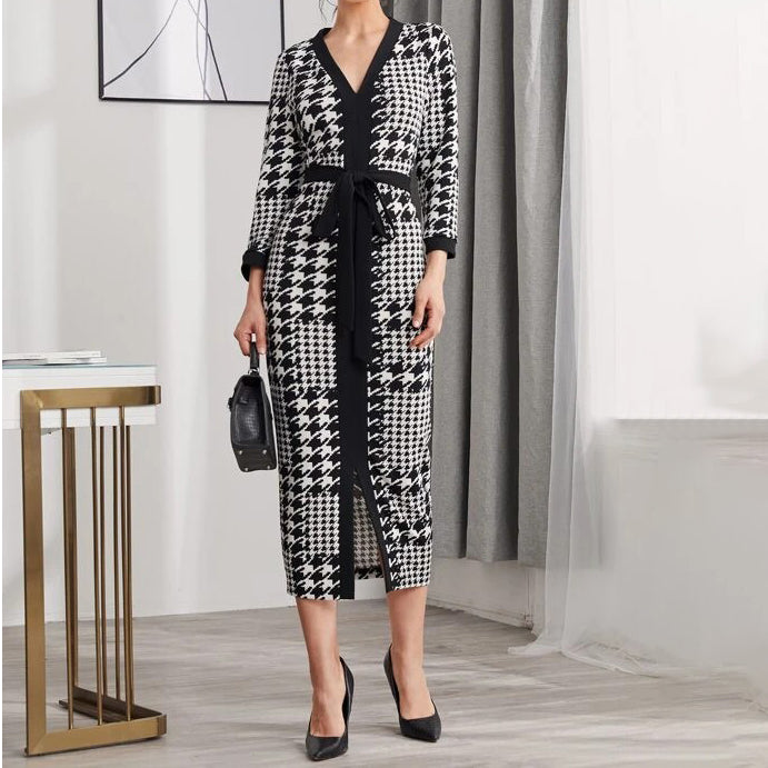 Houndstooth Split Hem Belted Dress