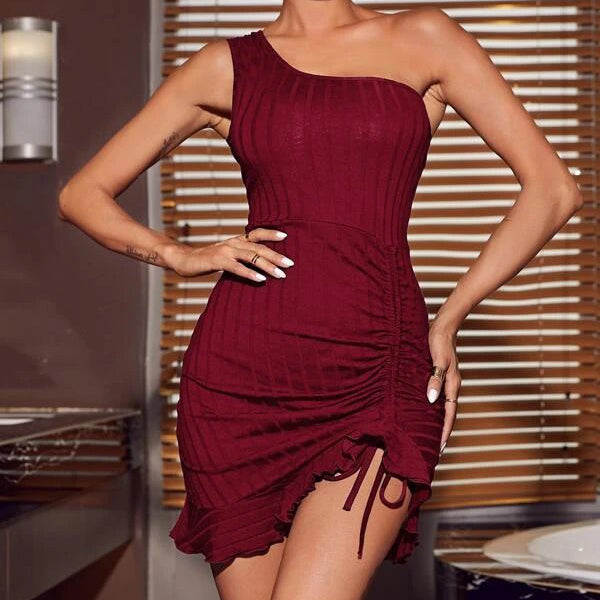 One Shoulder Ruched Drawstring Front Ruffle Hem Bodycon Dress