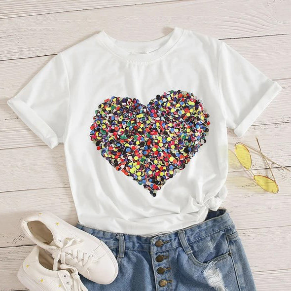 Heart Print Shirt Top Tee