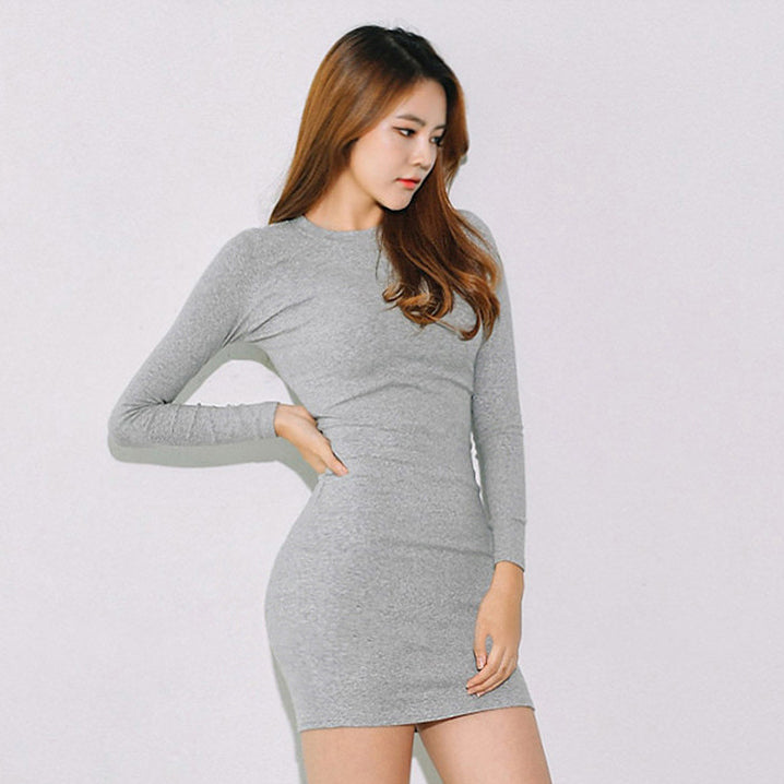 Round Neck Solid Color Bodycon Dress