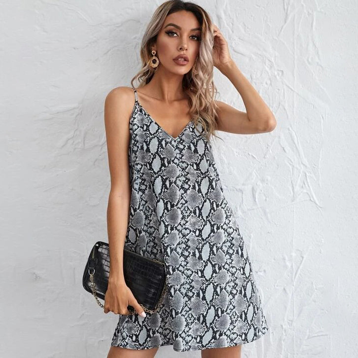 Snakeskin Print Slip Dress