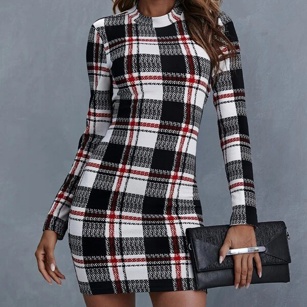 Mock-neck Plaid Dress
