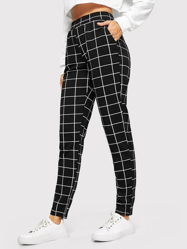 Elastic Waist Slant Pocket Grid Pants Trousers