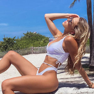 Solid Color High Waist Sexy Bikini Set Swimsuit Swimwear