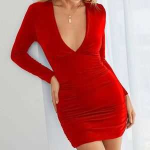 Plunging Neck Ruched Bodycon Dress