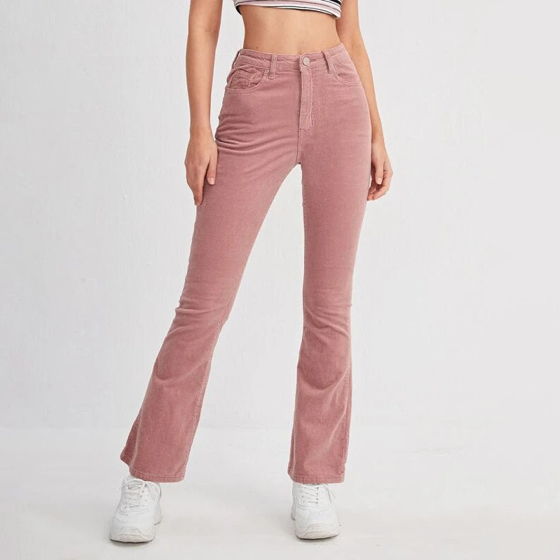 High Waist Flare Leg Corduroy Pants
