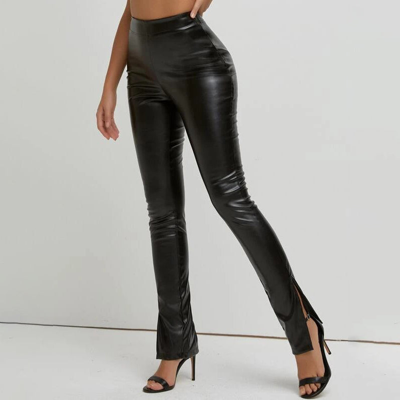 Slit Hem PU Leather Skinny Pants