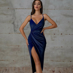Double Crazy Split Thigh Wrap Velvet Slip Dress