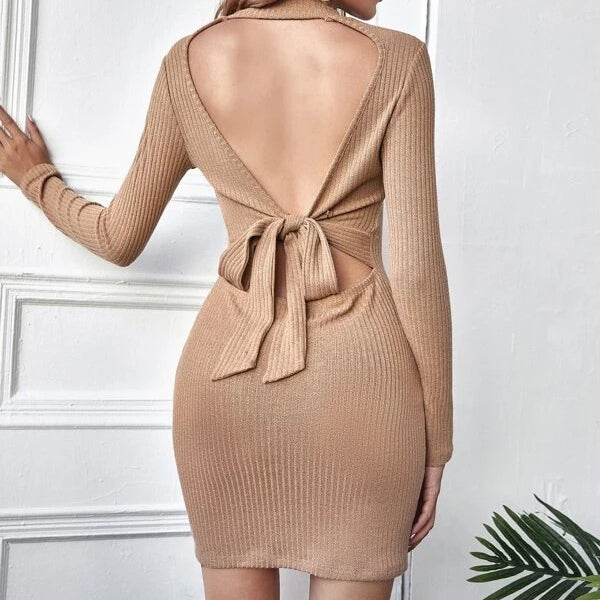Tied Backless Bodycon Dress