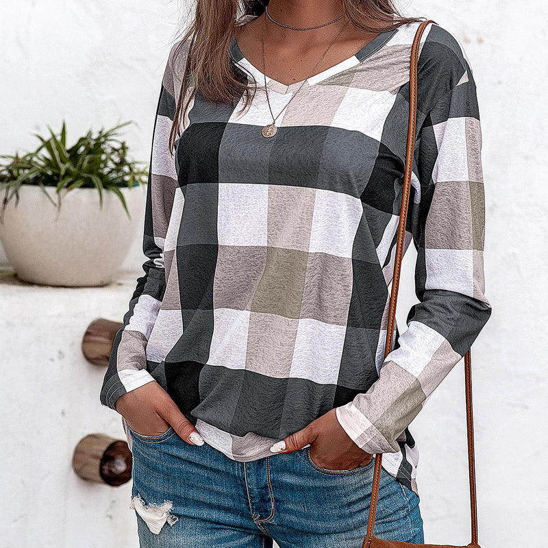 Long Sleeve Grid Shirt Top Blouse