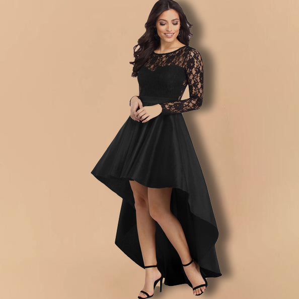 Round Neck Long Sleeve Lace Satin Party Dress