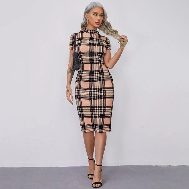 Mock-neck Tartan Pencil Dress