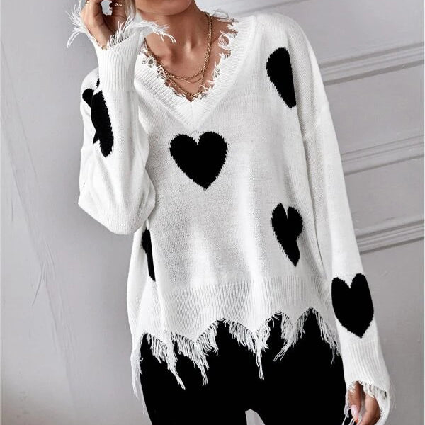 Drop Shoulder Heart Print Distressed Sweater
