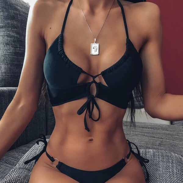 Halter Tie Front Ring-link Thong Bikini Swimsuit