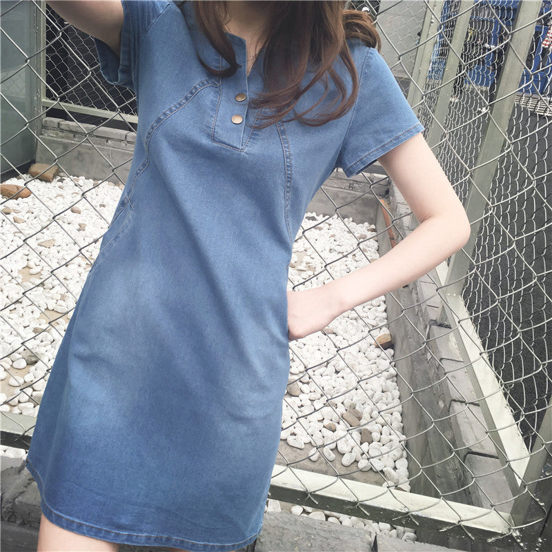 Denim Solid Bodycon Dress