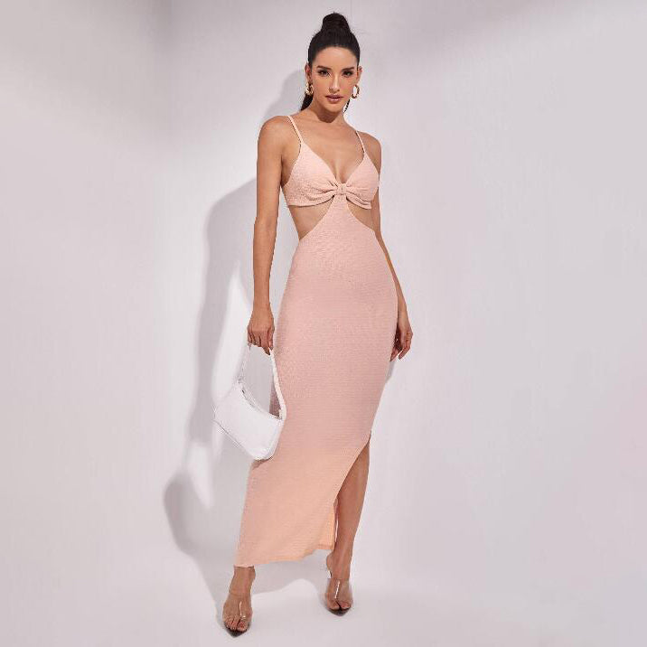 Cutout Solid Split Hem Dress