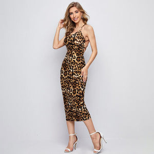 Crisscross Backless Leopard Dress