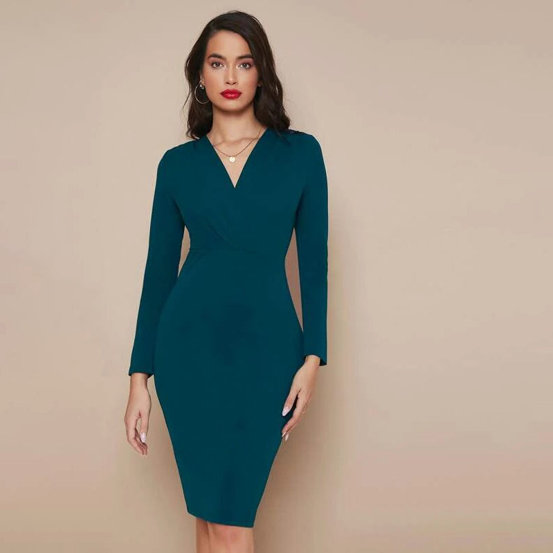 Surplice Neck Split Hem Solid Dress