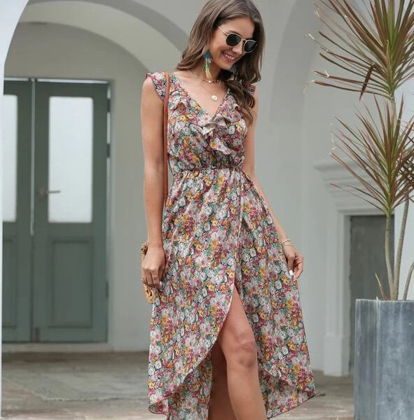 Allover Floral Ruffle Tie Back Wrap Dress