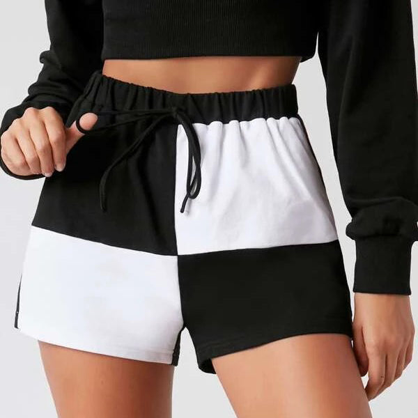 Tie Waist Colorblock Track Shorts
