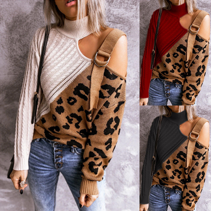 High Collar Leopard Print Sweater