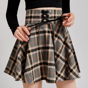 Lace-Up Waisted Plaid Skirt