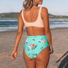 Floral High-waisted Bikini Sets Women Heart Neck Cute Two Pieces Swimsuits