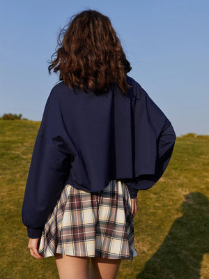 Contrast Collar Sweatshirt & Plaid Skirt