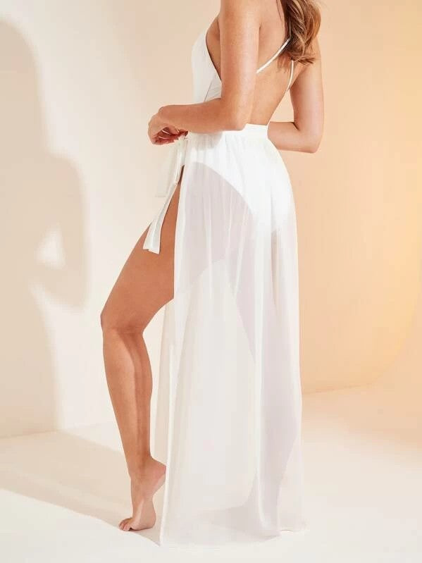 Tie Side Sheer Cover Up Skirt Without Panty