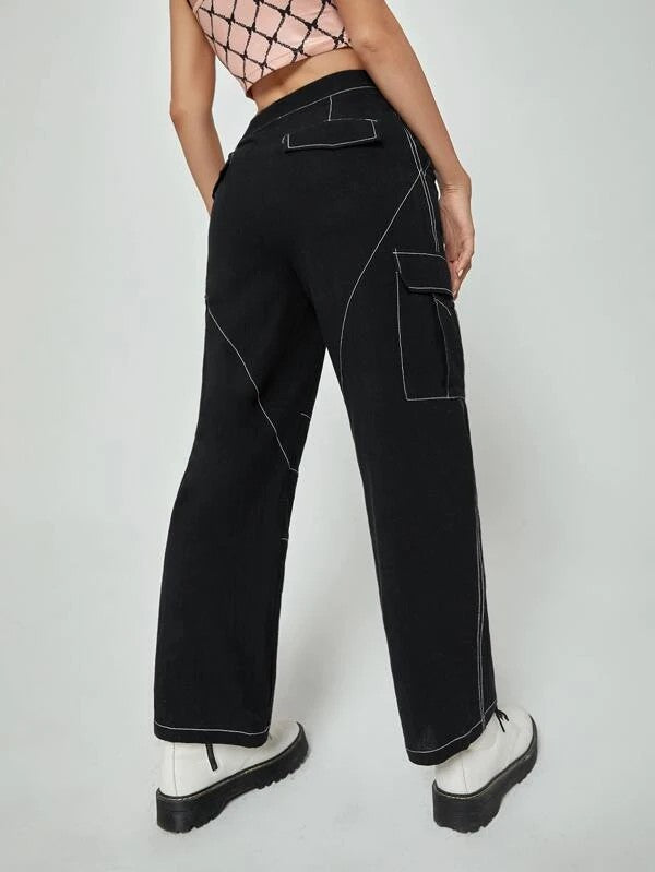 Contrast Topstitching Side Flap Pocket Cargo Pants