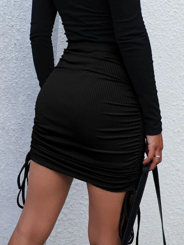 Drawstring Side Ribbed Bodycon Skirt