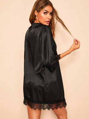 Lace Trim Satin Robe With Thong & Belt