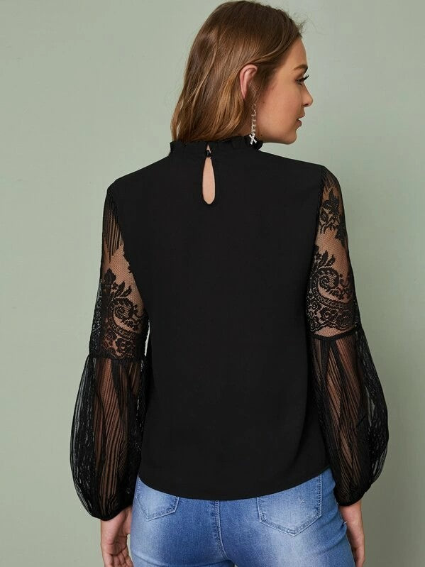 Frilled Neck Lace Sheer Sleeve Shirt Top Tee