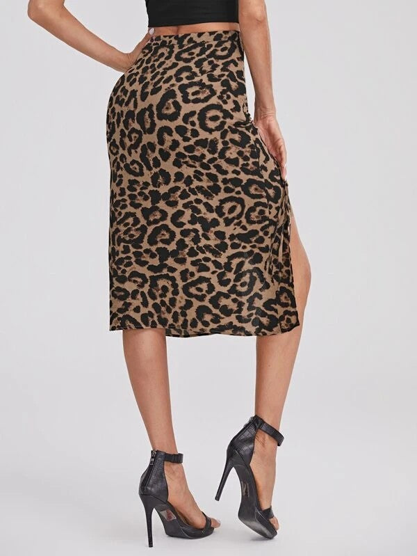 Drawstring Ruched Leopard Skirt