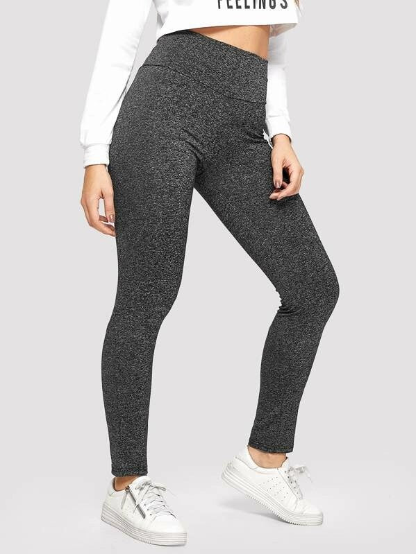 Crisscross Heathered Knit Leggings