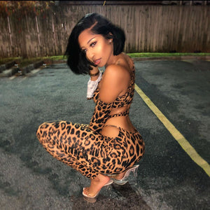 Leopard Print Backless Fashion Sports Set Two Piece