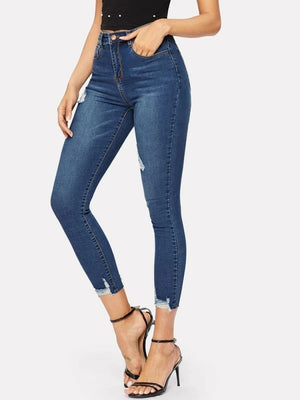 Ripped Frayed Hem Ankle Jeggings Pants Trousers Jeans