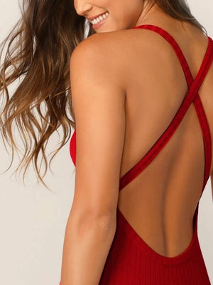 Crisscross Backless Rib-knit Bodycon Dress
