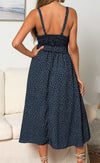 Off Shoulder Frill Trim Shirred Polka-dot Dress