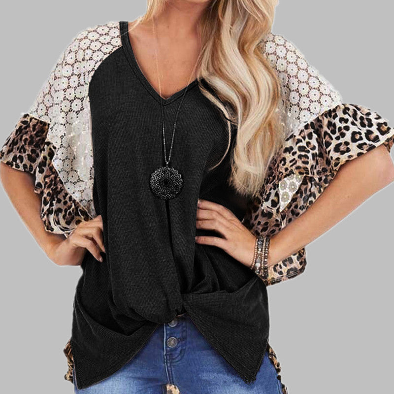 Lace Hollow Leopard Shirt Top Tee